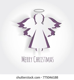 Vector christmas angel. Paper carving silhouette. Happy new year card. Hand-made angel on white background. Paper christmas symbol and icon. Decoration design.Festive template. Mock-up for your design