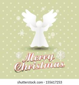 Vector Christmas Angels / Simple vector Angels made from origami paper / Origami Christmas Angels greeting card / Merry Christmas Greeting Card with Angels