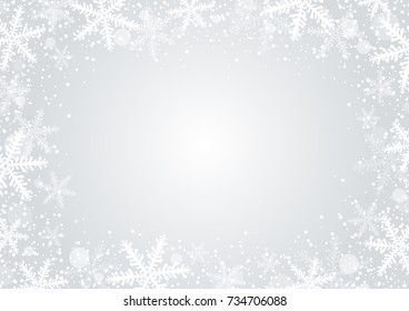 Vector christmas background concept design of white snowflake and snow with copy space