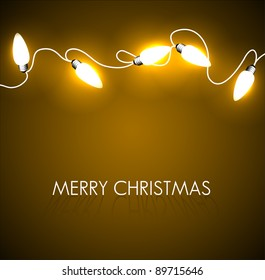 Vector Christmas background with golden christmas chain lights