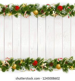 Vector Christmas Background with Golden Stars isolated on white background
