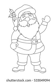 Vector Christmas background illustration of cartoon funny Santa Claus.