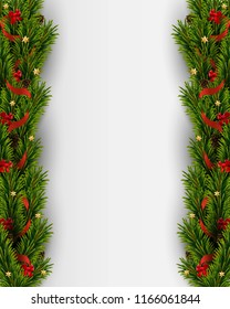 Vector Christmas background with realistic christmas tree and decorations. Holiday background
