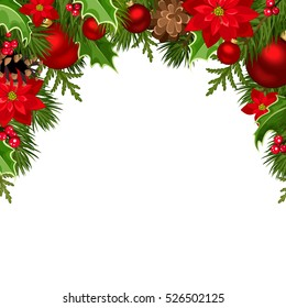 Vector Christmas background with red balls, poinsettia flowers, cones, fir branches and holly.