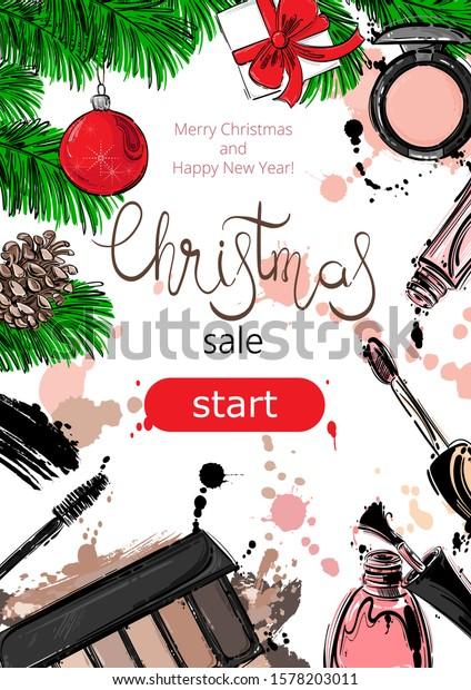 Vector Christmas Background Christmas Sale Cosmetics Stock Vector Royalty Free 1578203011