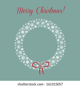 Vector christmas background with snowflake wreath