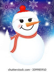 vector Christmas background with snowman. Christmas Card with winter Snowman - vector christmas illustration template with copy space.