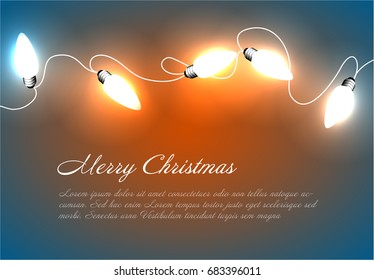 Vector Christmas background with white christmas chain lights on blue and orange