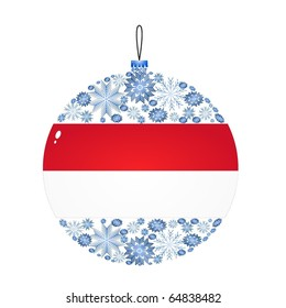 Vector Christmas ball with the flag of Indonesia