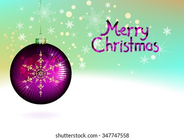 Vector Christmas Ball, Greeting Card Design for text