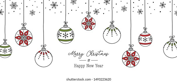Vector christmas ball hanging decoration hand drawn illustration with snowflakes