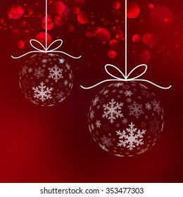 Vector Christmas ball snowflakes background