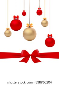Vector of Christmas balls and bows, background vector
