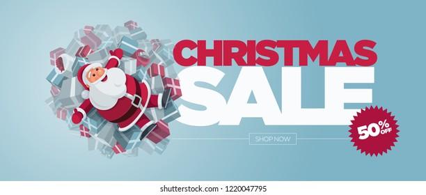 Vector Christmas banner design set with Santa Claus illustration. Christmas Sale Concept Design. Best for poster, advert or social media post.