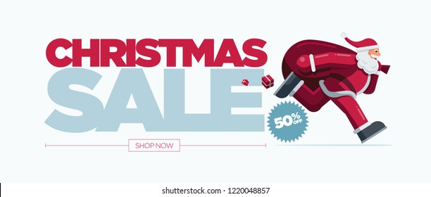 Vector Christmas banner design set with Santa Claus illustration. Christmas Sale Concept Design. Best for poster, advert or social media post.
