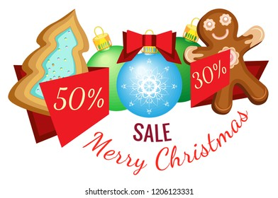 Vector Christmas banner for sales on a transparent background. From Christmas cookies and Christmas balls