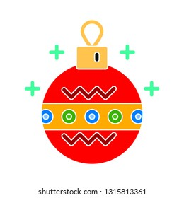vector christmas bauble illustration - holiday icon, xmas symbol - celebration icon