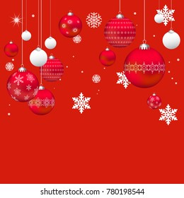 Vector Christmas Baubles Background, Realistic Holiday Decoration, Red and Whte Shiny 3D Christmas Balls, Greeting Card