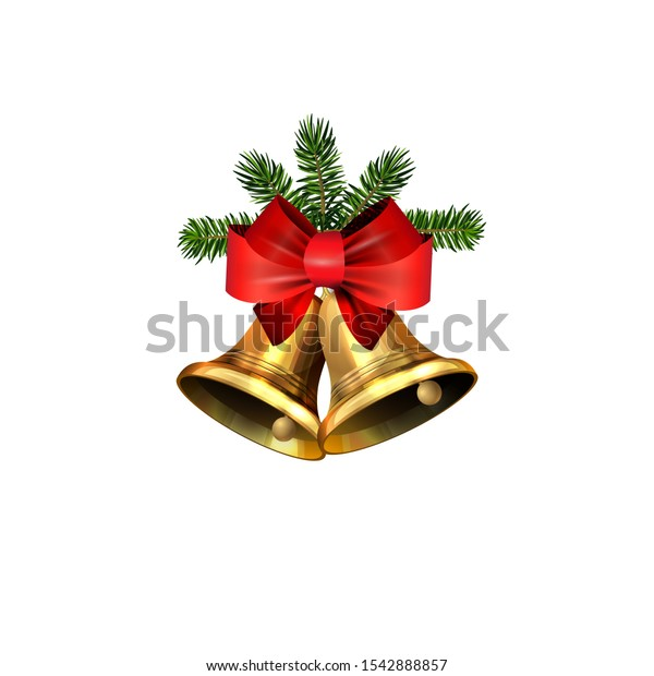 Vector christmas bells with christmas tree decorations.