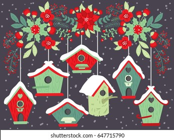 Vector Christmas birdhouses hanging on floral branch. Vector floral branch with poinsettia, Xmas berries and holly. Bird house clipart. Christmas and New Year vector Illustration.