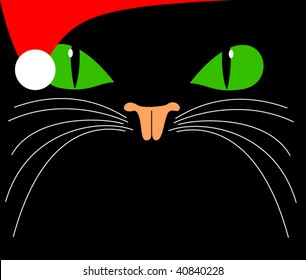 vector christmas black green eyed cat with santa hat