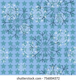 Vector Christmas blue seamless with snowflakes for the new year and Christmas