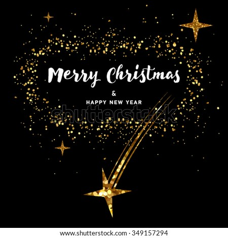vector christmas card black background with gold foil stars and handwritten letters new year