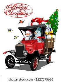 Vector Christmas card with cartoon retro Christmas delivery truck, Santa, Snowman and christmas lettering.