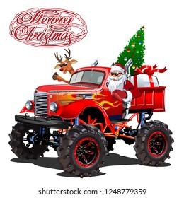 Vector Christmas card with cartoon retro Christmas monstertruck, Santa, reindeer and christmas lettering.