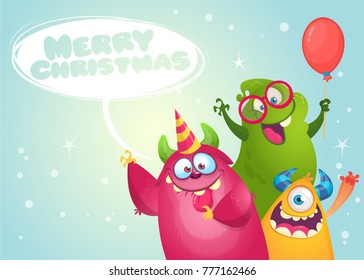 Vector Christmas card with cute funny monsters in cartoon style. Design for poster or print decoration