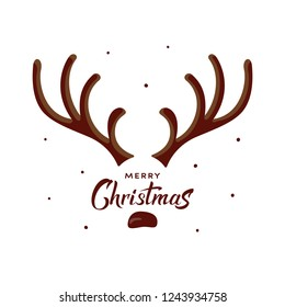Vector Christmas card with deer antlers. Funny character for christmas and new year cards, banner, poster, t-shirt, packaging. Merry Christmas hand drawn lettering. Eps10 illustration