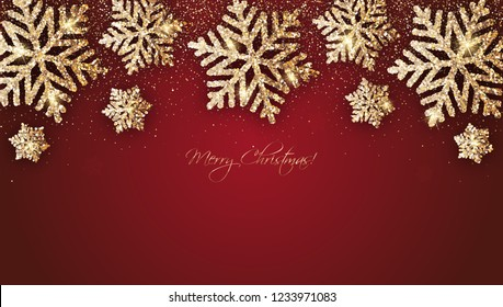 "Vector christmas card with gold snowflakes and shiny glitter on red background ""Merry Christmas"""