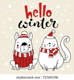Vector Christmas card. Greeting card with cartoon dog and cat. Hello winter lettering