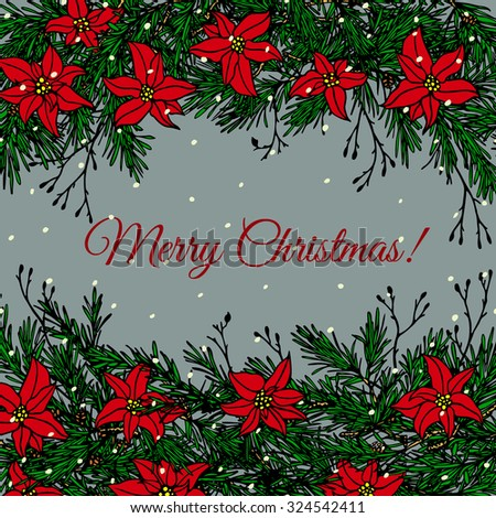 vector christmas card hand drawn borders made of christmas floral elements with snowflakes beautiful