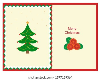 Vector Christmas card with Pohutukawa flower.Pohutukawa tree is a part of the Christmas tradition in the New Zealand.