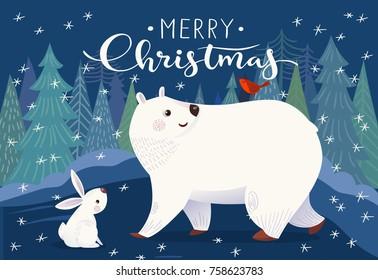 Vector Christmas card with polar bear, rabbit and bird. Merry Christmas vector card.