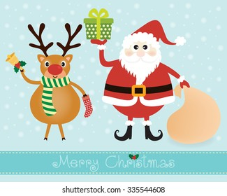 Vector of Christmas card, postcard or banner design with cute reindeer hold a yellow bell and sock with lovely claus hold a green gift and brown bag on light blue background and snow