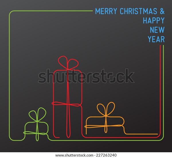 Vector Christmas Card Christmas Presents Gift Stock Vector Royalty Free 227263240