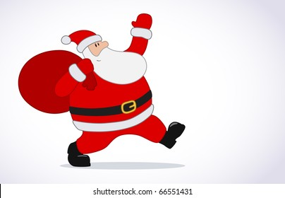 Vector Christmas card with Santa Claus and copy space