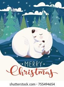 Vector Christmas card with sleeping mother polar bear and baby. Merry Christmas vector card.