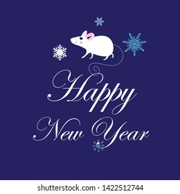 Vector christmas card with white mouse on blue background