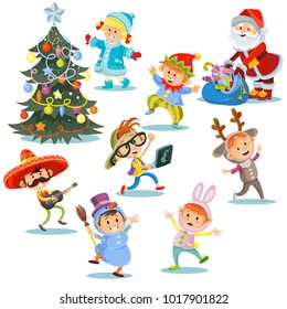 Vector Christmas carnival party, children in costumes with Santa Claus with presents for cheerful kids in fancy dresses. Group of boys and girls in masquerade costumes dance near New Year tree