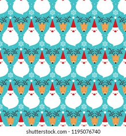 A Vector Christmas Cartoonish Santa Claus and Deer seamless pattern on a light blue background