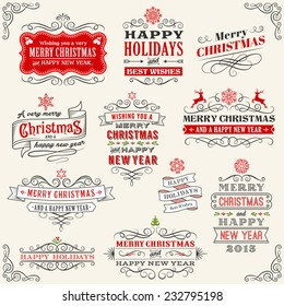 """Vector Christmas Chalkboard labels with """"Merry Christmas and Happy new year"""" variations. The art is fully layered for ease of editing."""