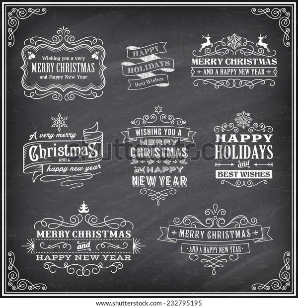 Christmas Chalkboard Art.Vector Christmas Chalkboard Labels Merry Christmas Stock