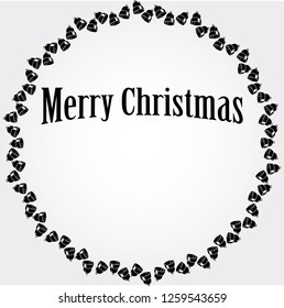 vector Christmas circular frame with black bells