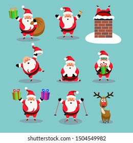 vector christmas collection of cute cartoons of santa claus and red nosed reindeer, rudolph. funny characters for merry christmas  and new year illustrations. santa claus skiing, in chimney, with bell