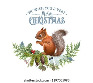 Vector Christmas composition with winter forest branches and squirrel. Winter design element for greeting card, Christmas party invitation, holiday sales. Can be used for poster, web page, packaging
