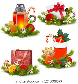 Vector Christmas Concept Icons isolated on white background