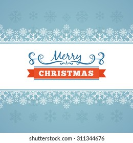Vector christmas decorating design made of snowflakes. Colorful card template with copy space